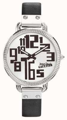 Jean Paul Gaultier 女士指数黑色真皮表带银色表盘 JP8504305
