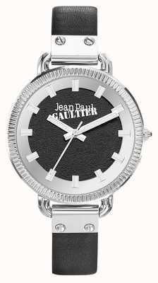 Jean Paul Gaultier 女装指数黑色皮革表带黑色表盘 JP8504312