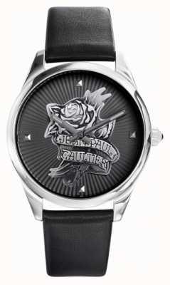 Jean Paul Gaultier 海军蓝纹身黑色皮革表带黑色表盘 JP8502412