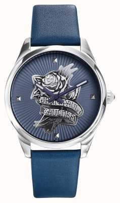 Jean Paul Gaultier 海军蓝纹身蓝色皮革表带蓝色表盘 JP8502413