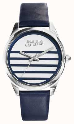 Jean Paul Gaultier 海军蓝色皮革表带白色表盘 JP8502409