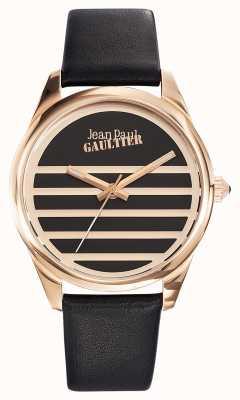 Jean Paul Gaultier 海军黑色真皮表带黑色表盘 JP8502410