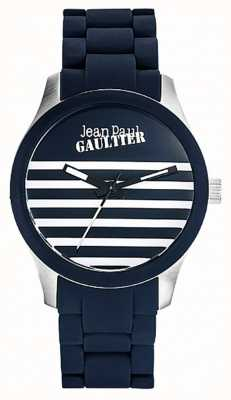 Jean Paul Gaultier Enfants terribles蓝色橡胶钢制手链蓝色表盘 JP8501118