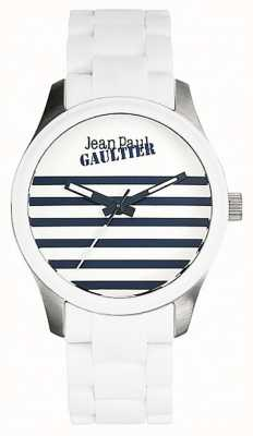 Jean Paul Gaultier (无盒)婴儿脚架白色橡胶钢手链 JP8501120