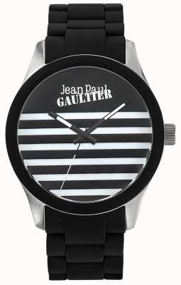 Jean Paul Gaultier Enfants terribles黑色橡胶钢手链黑色表盘 JP8501121