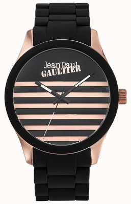 Jean Paul Gaultier Enfants terribles黑色橡胶钢手链黑色表盘 JP8501122