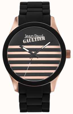 Jean Paul Gaultier Enfants terribles黑色橡胶钢手链黑色表盘 JP8501122