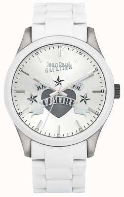 Jean Paul Gaultier Enfants terribles白色橡胶钢表链白色表盘 JP8501123