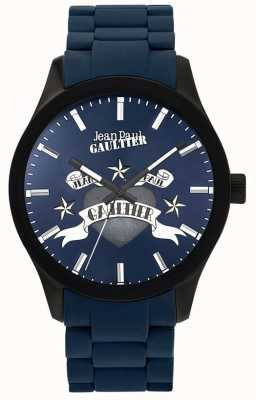 Jean Paul Gaultier Enfants terribles蓝色橡胶钢表链蓝色表盘 JP8501124