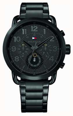 Tommy Hilfiger 布里格斯男士黑色不锈钢表链黑色表盘 1791423