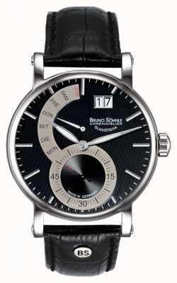 Bruno Sohnle 佩萨罗ii 43毫米黑色皮革手表 17-13073-781