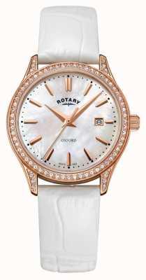 Rotary 女士牛津皮表带玫瑰金石英表 LS05096/41