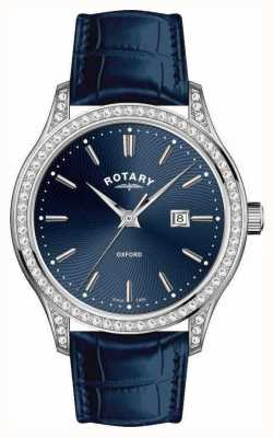 Rotary 女士牛津皮表带蓝色石英表 LS05092/05