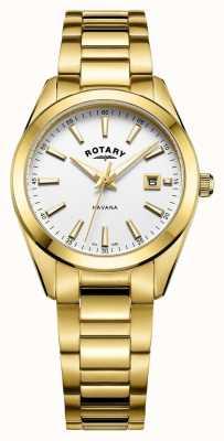 Rotary 女装哈瓦那镀金白色腕表 LB05081/02