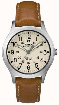 Timex 男士探险队侦察员棕褐色皮革表带自然表盘 TW4B11000