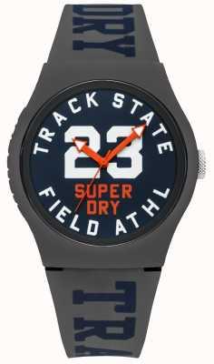 Superdry 轨道状态打印拨号蓝面灰色表带 SYG182UE