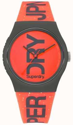 Superdry 都市红色表盘黑色表壳橡胶表带 SYL189CE