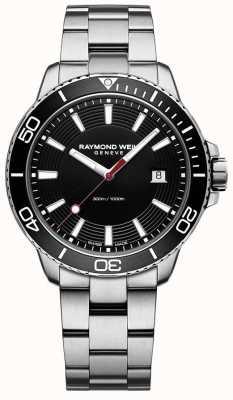 Raymond Weil 男士探戈不锈钢手链黑色表盘 8260-ST1-20001