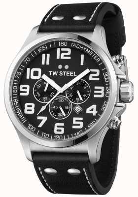 TW Steel 男士飞行员计时黑色皮表带黑色表盘 TW413