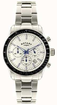 Rotary 男士计时码表不锈钢表链白色表盘 GB00470/01