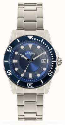 Rotary 男士精钢表链蓝色表盘 GB00487/05