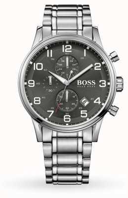 Hugo Boss Aeroliner日期显示灰色表盘不锈钢表链 1513181