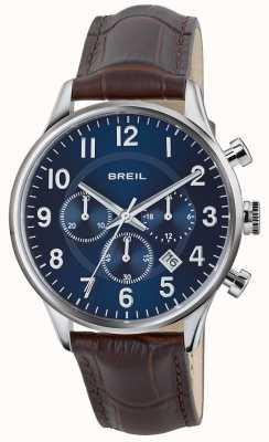 Breil Contempo不锈钢计时码表蓝色表盘棕色表带 TW1576