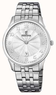 Festina 经典图案表盘不锈钢表链银色表盘 F6856/1