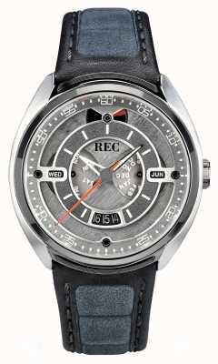 REC 保时捷自动灰色alcantara皮革表带灰色表盘 p-901-01