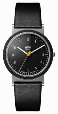Braun 经典的1989年致敬设计黑色皮革表带黑色表盘 AW10