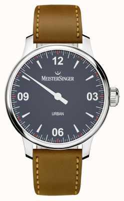 MeisterSinger 城市蓝色棕色皮革表带 UR908