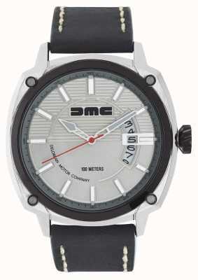 DeLorean Motor Company Watches Alpha dmc银色男士银色表盘黑色皮革表带 DMC-3