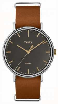 Timex Fairfield 41毫米棕色皮革表带镀铬表壳 TW2P97900