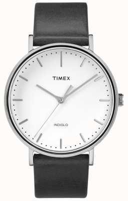 Timex Fairfield 41毫米黑色皮革表带/白色表盘 TW2R26300
