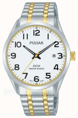 Pulsar 男士|不锈钢双色手链|白色表盘| PS9565X1