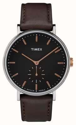 Timex Fairfield Silvertone表壳黑色表盘和棕色表带 TW2R38100
