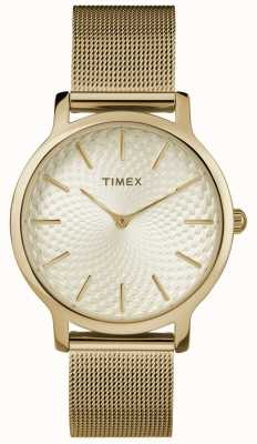 Timex 34毫米金色网眼手链/金色表盘 TW2R36100