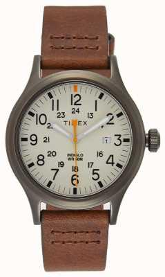 Timex Allied 40棕色皮革表带/自然表盘 TW2R46400