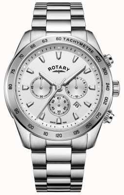 Rotary 男士亨利计时表链手镯不锈钢 GB05115/06