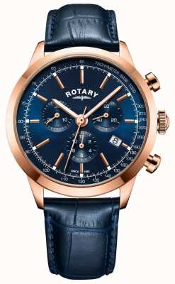 Rotary 男士剑桥计时蓝色皮革腕表 GS05257/05