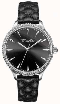 Thomas Sabo 女士们的心底黑色皮革表带黑色表盘反叛 WA0322-221-203-38