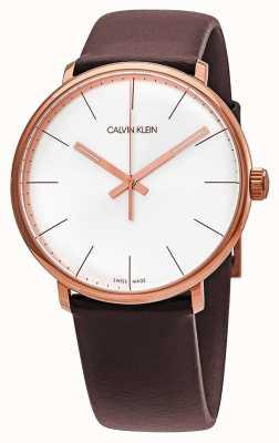 Calvin Klein 男士高中午玫瑰金表壳棕色皮质表带 K8M216G6