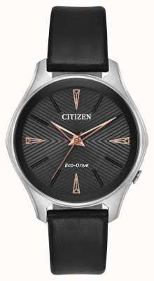 Citizen 女士黑色皮革摩德纳生态驱动手表 EM0591-01E