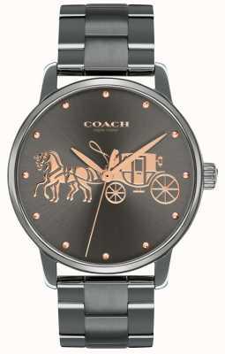 Coach 女式大号黑色镀铂金表壳和手链玫瑰金印花 14502924