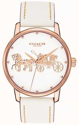Coach 女式大号白色皮革表带玫瑰金表壳白色表盘 14502973