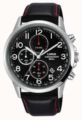 Lorus 男士计时腕表黑色真皮表带黑色表盘 RM369EX8