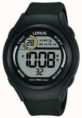 Lorus 男女皆宜的lorus橡胶数字运动手表黑色 R2373LX9