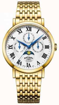 Rotary 男士windsor月相手表镀金手链 GB05328/01