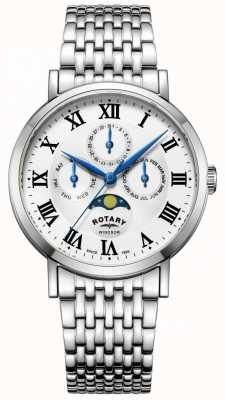 Rotary 男士windsor月相手表银色调手镯 GB05325/01