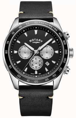 Rotary 男士亨利表黑色计时表盘黑色皮革表带 GS05115/04